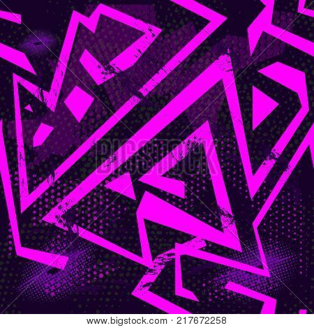 Abstract seamless grunge sport pattern for girl and boy. Creative colorful wallpaper with stripes lines dots. Grunge sport urban background for textile sport clothes. Fashion grunge sport style.