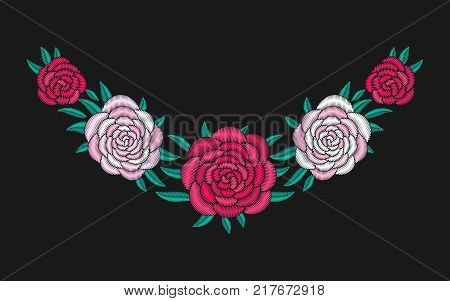 Embroidered neckline design. Peony needlework floral composition. Pion flower motives. EPS 10 vector embroidery pi meson fashion template.