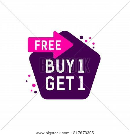 Buy one get one free lettering on pink arrow and violet tag. Inscription can be used for leaflets, posters, banners, tags.