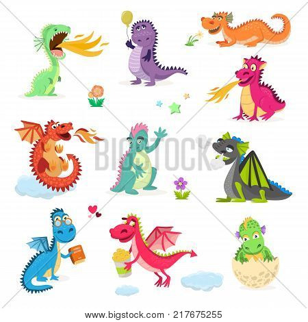 Dragon cartoon cute dino dragonfly character baby dinosaur for kids fairytale isolated on white background.