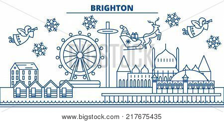 Great Britain, Brighton winter city skyline. Merry Christmas, Happy New Year decorated banner with Santa Claus.Winter greeting line card.Flat, outline vector. Linear christmas snow illustration