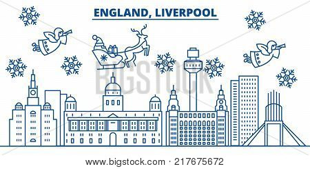 Great Britain, Liverpool winter city skyline. Merry Christmas, Happy New Year decorated banner with Santa Claus.Winter greeting line card.Flat, outline vector. Linear christmas snow illustration