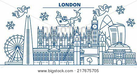 Great Britain, London winter city skyline. Merry Christmas, Happy New Year decorated banner with Santa Claus.Winter greeting line card.Flat, outline vector. Linear christmas snow illustration