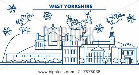 Great Britain, West Yorkshire winter city skyline. Merry Christmas, Happy New Year decorated banner with Santa Claus.Winter greeting line card.Flat, outline vector. Linear christmas snow illustration