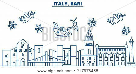 Italy, Bari winter city skyline. Merry Christmas, Happy New Year decorated banner with Santa Claus.Winter greeting line card.Flat, outline vector. Linear christmas snow illustration