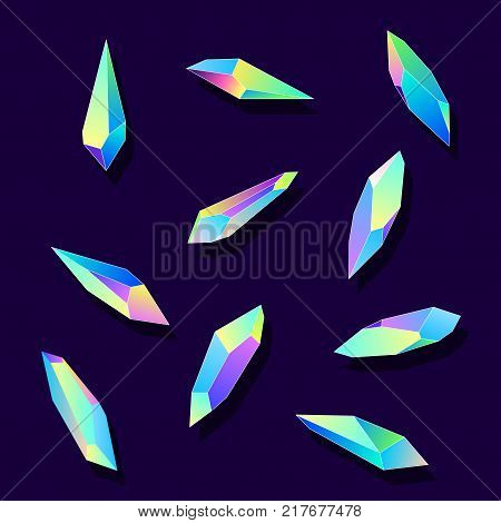 Colorful vector crystals icons set. Applicable as element of bijouterie or jewellery logo.