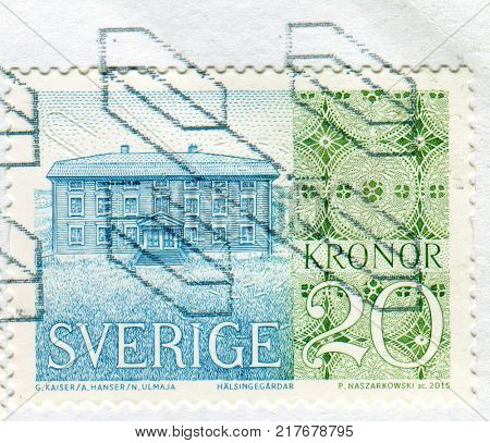 GOMEL, BELARUS, 6 DECEMBER 2017, Stamp printed in Sweden shows image of the House, circa 2015.