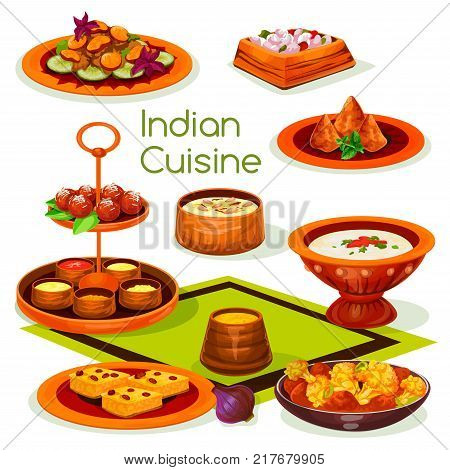 Indian cuisine lunch with traditional asian food. Mushroom curry, chicken vegetable casserole with cream tomato sauce, rice dessert with nuts, potato samosa, milk cake ball and semolina pudding