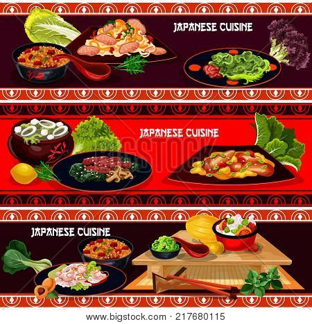 Japanese cuisine restaurant dinner menu banner set. Fried rice with teriyaki beef, spicy pork noodle, rice with vegetable, eel fish and marinated ginger, seaweed soup kale with tofu cheese