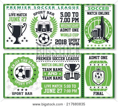Soccer or football sport game league match ticket for sport bar template. Soccer ball and beer glass with winner trophy cup and beer barrel invitation flyer for sport pub broadcast of sporting event