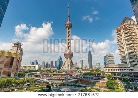 Shanghai, China - Nov 11, 2017: View of Oriental Pearl Tower in Shanghai. It is a landmark and popular tourist attraction in Shanghai located at Lujiazui, the CBD of Shanghai.