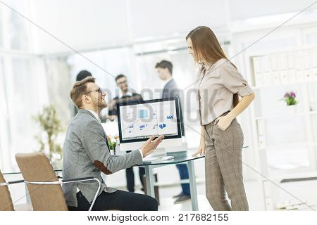 specialist of Finance and Manager of the company working with financial charts in the company's profit.the photo has a empty space for your text.