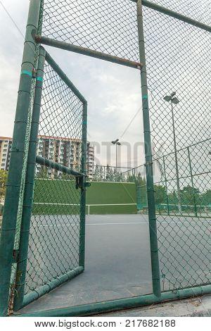 Steel door enter to the tennis knock board