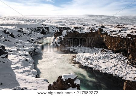 Winter landscape, Godafoss waterfall in winter, Iceland landmark