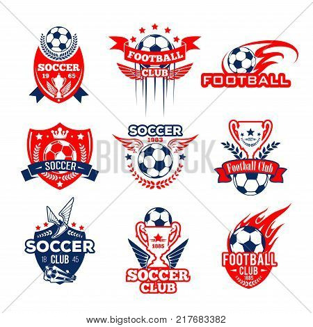 Soccer or football sport club heraldic badge set. Soccer ball and football winner trophy cup with flame, wing and star symbol on shield with ribbon banner and laurel wreath for sporting design