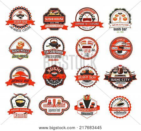 Japanese sushi badge of asian cuisine restaurant. Seafood sushi, salmon fish, shrimp and tuna roll, noodle soup ramen and sashimi with soy sauce and chopsticks for japanese restaurant emblem design