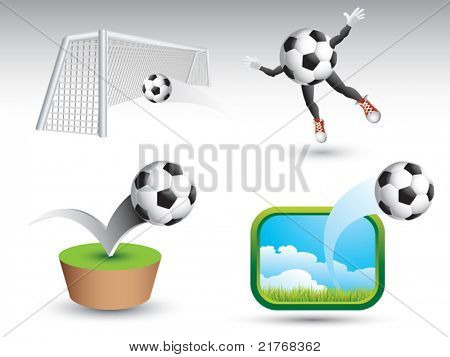 Soccer ball in net, soccer mascot, soccer ball bouncing, and soccer ball soaring through air on white backdrop