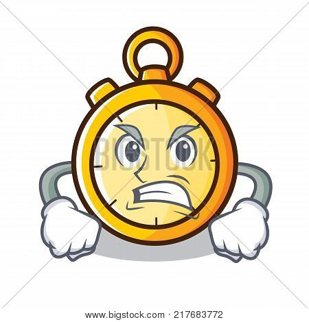 Angry chronometer character cartoon style vector illustration