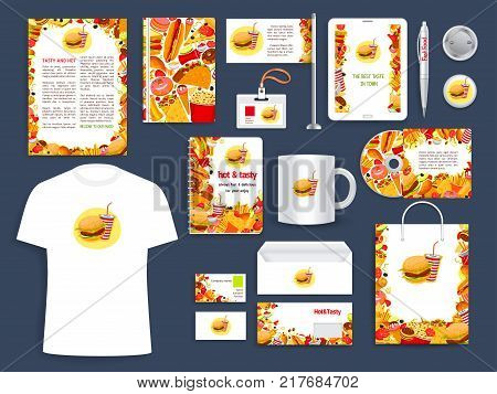 Fast food restaurant corporate identity template with fatfood dishes. Business card, letterhead and envelope layout, branded folder and brochure cover with hamburger, soda and pizza, hot dog and donut