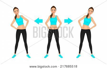 Young pretty woman make side bend exercise with hands on the hips. Fit girl in leggings and crop top. Warm-up instruction vector illustration