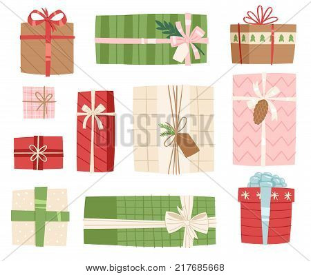 Gift box vector present packs Christmas or Birthday flat illustration celebration bow giftbox object isolated on background. Surprise elegance birthday present.