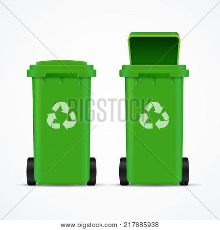 Realistic 3d Detailed Recycled Bins for Trash or Garbage Open and Closed Isolated on White Background. Vector illustration