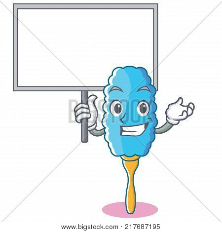 Bring board feather duster character cartoon vector illustration