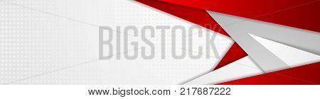 Abstract red and grey tech geometric banner design. Vector web header corporate background