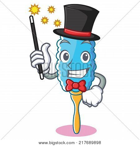 Magician feather duster character cartoon vector illustration poster