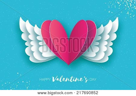 Happy Valentine's Day Greetings card. Origami angel wings and romantic pink heart. Love. Winged heart in paper cut style. Blue sky background. Vector