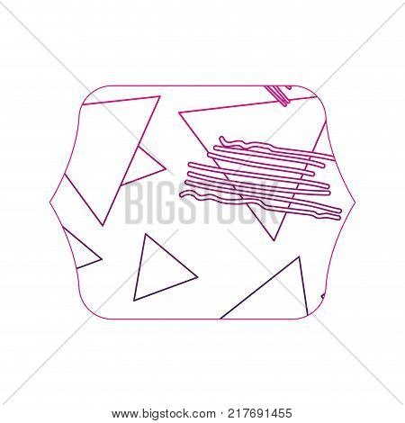 color edge quadrate with geometric figure stye background vector illustration