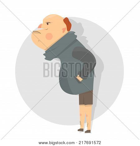 Angry character funny and comic style. Isolated on white background. Cartoon illustration.