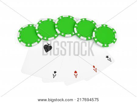 3d rendering of green casino chips with four different ace cards isolated on a white background. Casino and gambling. Money bets. Easy win and lose.