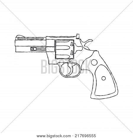 Vintage Revolver Gun. Firearm, pistol. Vector illustration