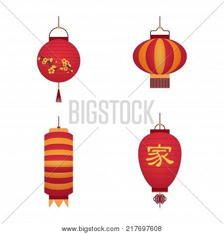 Cartoon Color Japanese Paper Lantern Set Traditional Oriental Culture Decoration Lamp for Festival, Celebration or Event. Vector illustration