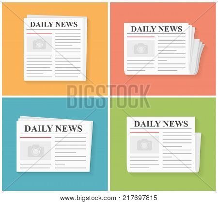 Four newspapers, daily news, flat style, vector eps10 illustration