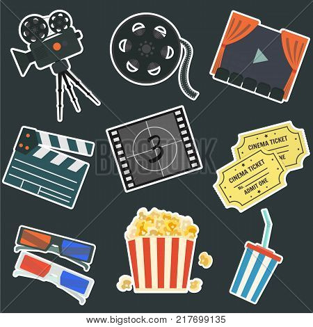 Nice flat vector cinematography stickers on black background set. Film production symbols including colorful camera, clapper, tape bobbin, screen, tickets, popcorn, cup and glasses for your design