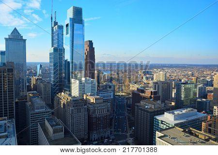 Philadelphia Pennsylvania Skyline on a Sunny Day