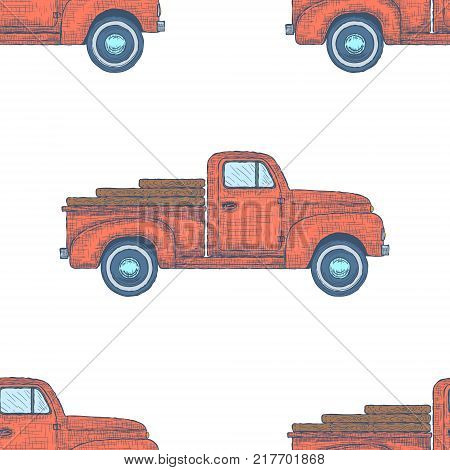 Hand drawn Engraved Retro Vintage Pickup Truck Seamless Pattern. Vector illustration