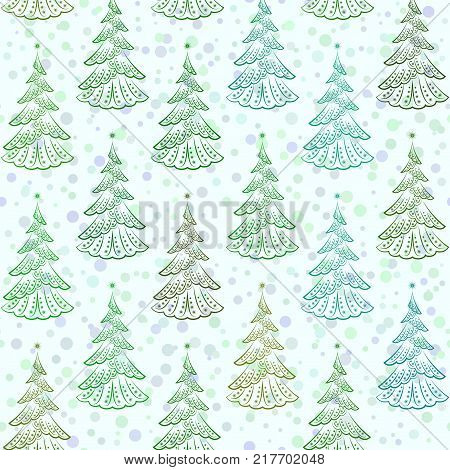 Christmas Seamless Background with Holiday Fir Trees, Winter Symbolic Tile Pattern for Your Design. Vector