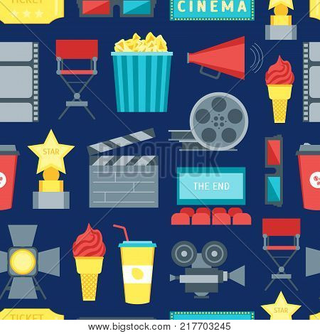 Cartoon Cinema Movie Seamless Pattern Background Symbol Film and Cinematography Flat Style Design. Vector illustration