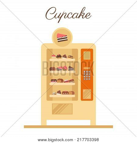 Vending vector machine. Cupcake vending in a flat vector. Business idea.