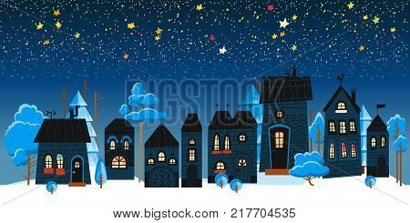 Christmas winter landscape night background. Holidays in December and January.New year celebration.