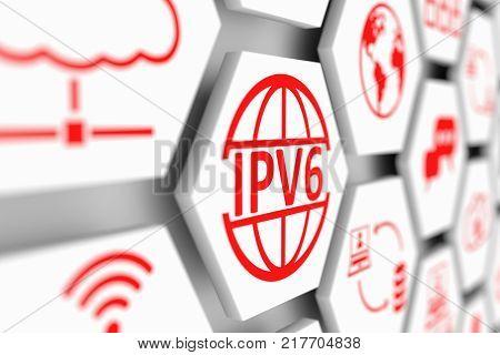 IPV6 concept cell blurred background 3d illustration