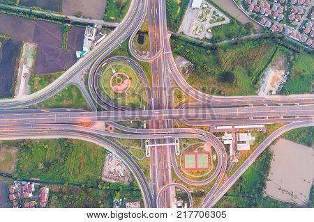Intersection Traffic Road Aerial View In Morning