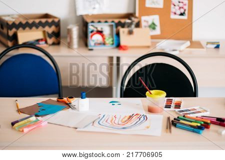 creative children education art space concept. daily routine of talented people. courses for little artist.