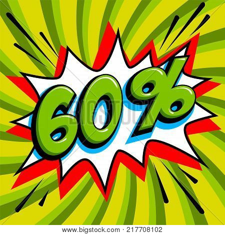 60 sixty percent off sale banner. Green number on bang shape and green swirling background. Big sale web banner in Pop-art style. Comic style sale promotion banner. Vector illustration