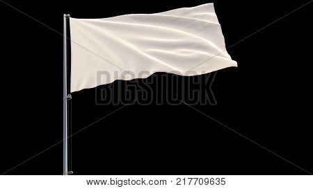 Isolate White flag on a flagpole fluttering in the wind on a black background, 3d rendering