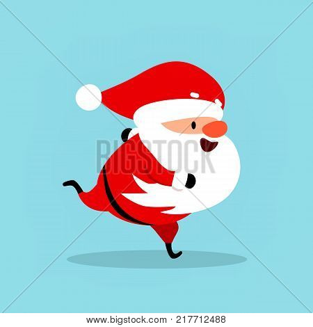 Funny Santa Claus runs hurries goes in for sports. Christmas vector illustration is suitable for New Year's design advertising banners flyers flyers. Element from the New Year's collection