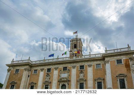 facade of the Senatorial Palace (Palazzo Senatorio) in the Capitoline Hill in Rome